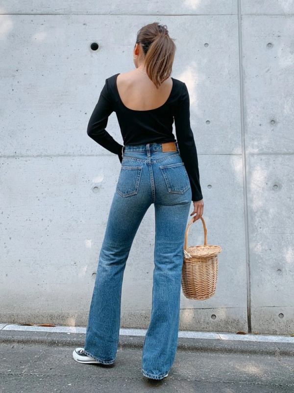 Vicente flare long denim(ブリーチ)