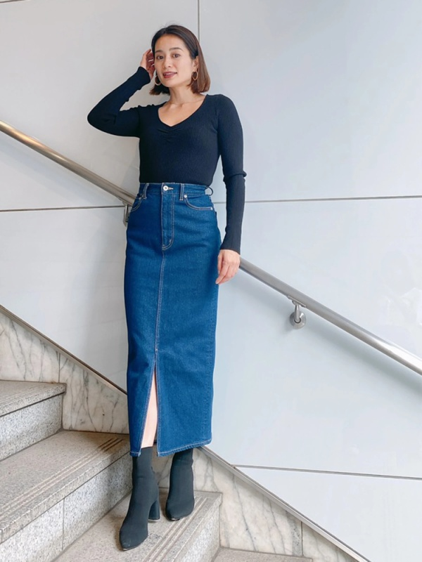Vicente(ヴィセンテ) |Vicente denim long skirt(インディゴ)